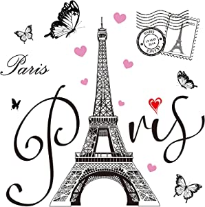 Gueevin 2 Sheets Paris Tower Wall Stickers Eiffel Tower Wall Sticker Decal Removable Paris Tower Wall Decor for Bedroom Living Room Sofa Backdrop TV Wall Romance Decoration