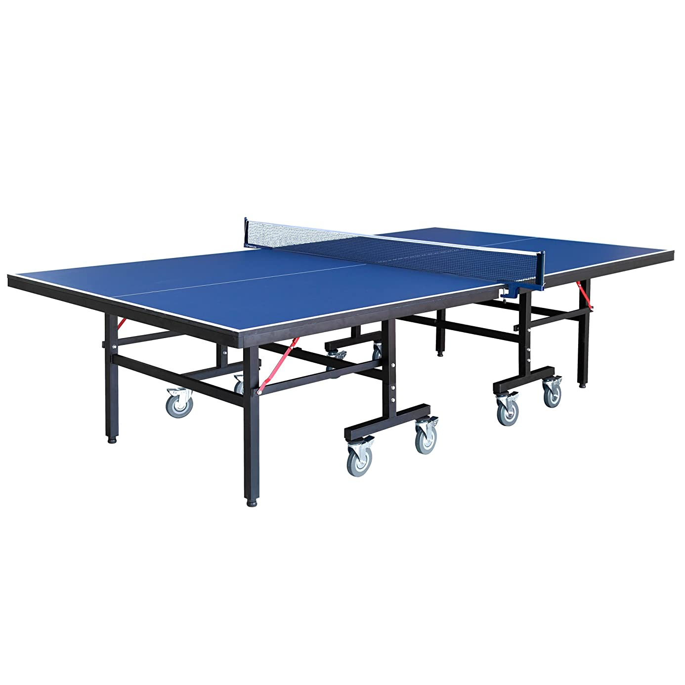 Hathaway Back Stop 9-Foot Table Tennis for Family Game Rooms with Foldable Halves for Individual Play includes Net, Paddles, Balls