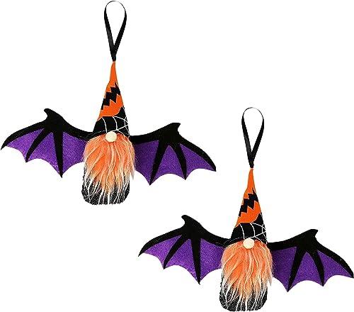 discount Halloween Gnome Doll with Bat Wings, Miniature Doll Handmade Swedish Scandinavian Plush Doll Faceless Gnome Plush Doll discount Halloween online sale Decoration, 2pcs (Purple) outlet sale