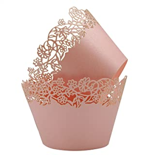 Cupcake Wrappers Pack of 50 Pink Filigree Artistic Bake Cake Paper Cups Little Vine Lace Laser Cut Liner Baking Cup Muffin Case Trays for Wedding Party Birthday Decoration -By KPOSIYA (Pink)