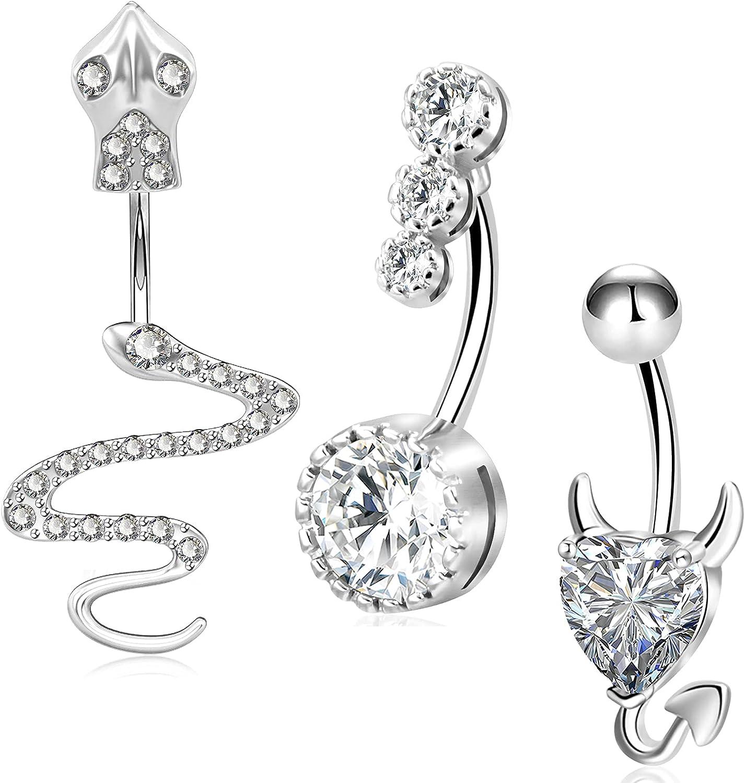 4Pcs Belly Button Rings Stainless Steel 14G CZ Devil Heart Navel Rings Women Men Girls Body Piercing Jewelry