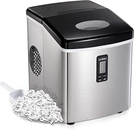 AGLUCKY Countertop Ice Maker Machine,Portable Automatic Ice Maker,Ice Cube Ready in 7mins,2.6Lb Ice Storage,48lbs//24h,Self-clean Function,See-through Lid,Stainless Steel Cover black22