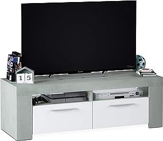 Habitdesign 016621L - Mueble de Comedor Moderno modulo TV Salon Modelo Ambit Acabado en Color Blanco Artik y Gris Cemen...