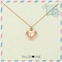 Love Letter Initial Necklace Heart Pendant Engraved I Love You, 16