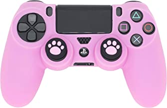 PS4 Controller Skin, BRHE DualShock 4 Grip Anti-Slip Silicone Cover Protector Case for Sony Playstation 4/PS4 Slim/PS4 Pro Wireless/Wired Gamepad Controller with 2 Cat Paw Thumb Grip Caps (Pink)