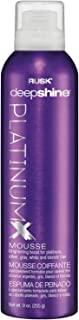 RUSK Deepshine PlatinumX Mousse, 9 Oz, Lightweight, Alcohol-Free Styling Foam for Platinum, Blonde, Gray, and Silver Hair,...