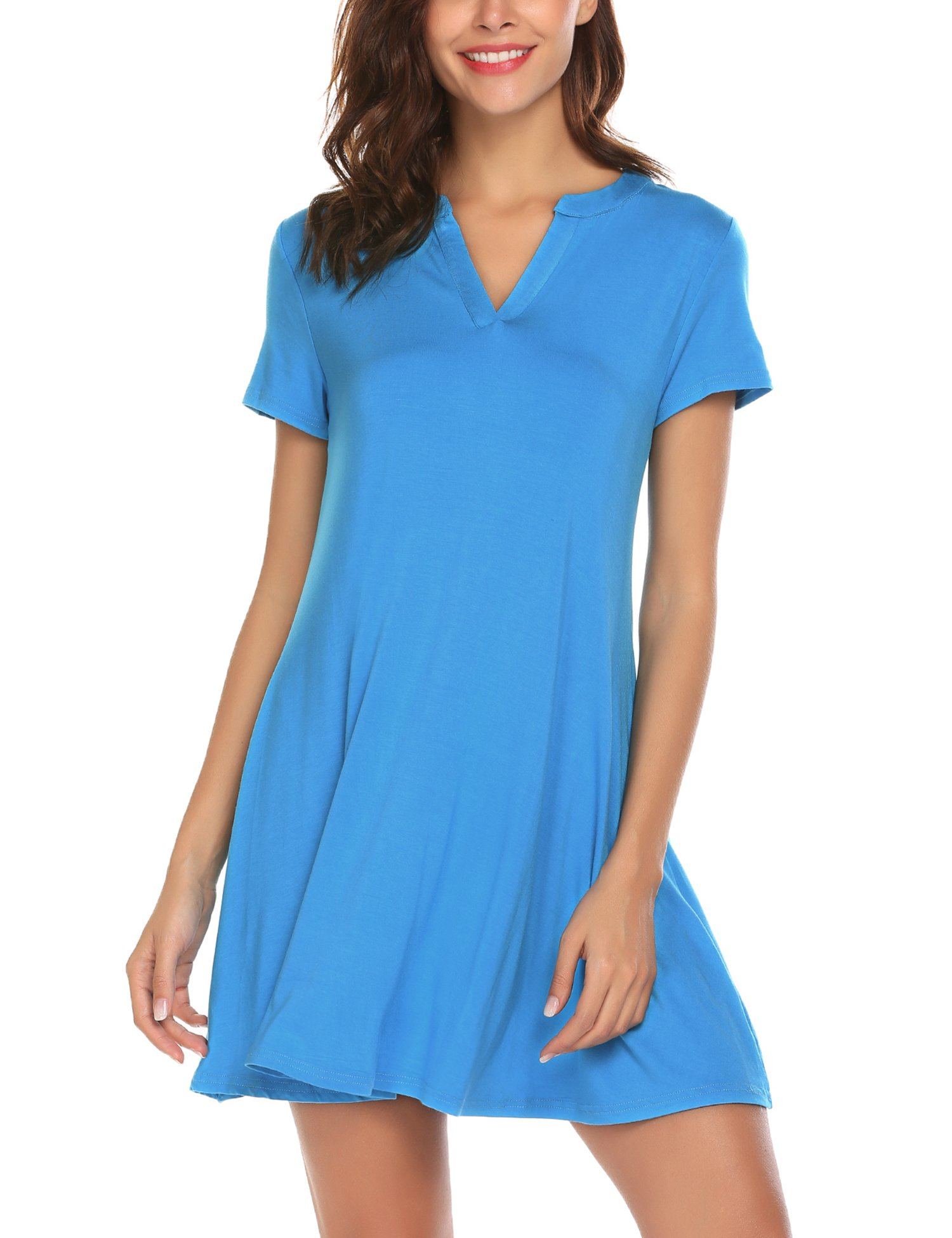 Available at Amazon: BURALDY Women's Casual Short Sleeve Simple T-Shirt Loose Fit Tunic Dress