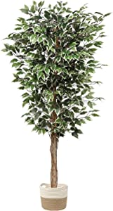 plant Artificial Ficus Tree 6ft in Cotton Pot Fake Silk Plant with Green White Leaves Natural Trunk for Indoor Outdoor Home Garden Decor