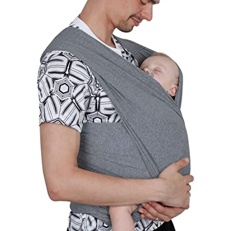 echarpe de Portage, Lictin l'Echarpe Portage Fait de Coton Elastique, echarpe Multifonctionnel pour les Nouveau-nes et Bebes Jusqu'a 15 kg, Echarpe de Portage bebe (gris)