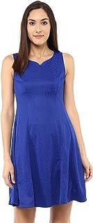 109 F Women Blended Polyester Blue Self Design Back Long Zip Dress