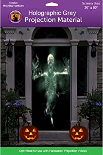 """36"""" x 80"""" Door Holographic Rear Projection Screen with Mounting Hardware for Projecting Halloween Videos"""
