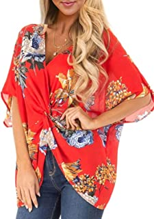 Womens Floral Blouses Short Sleeve Chiffon Twist Tops V Neck Casual Loose Shirts