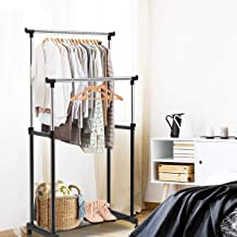 Tangkula Rolling Garment Rack, Double Rail Heavy Duty Height Adjustable Clothes Rack Portable Garment Rack with Wheels (34
