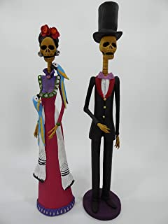 2 CATRINA SET, couple 100% handmade clay figurines, mexican day of the dead 15