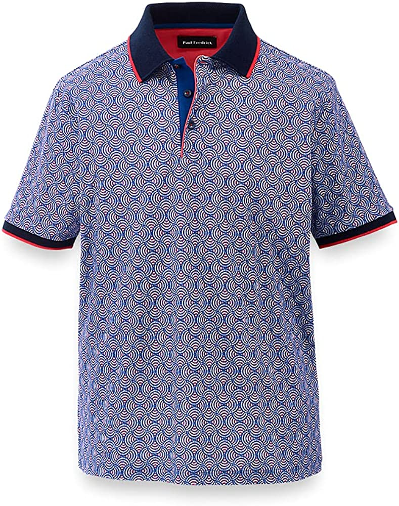 Paul Fredrick Men's Printed Mercerized Cotton Polo with Tipping