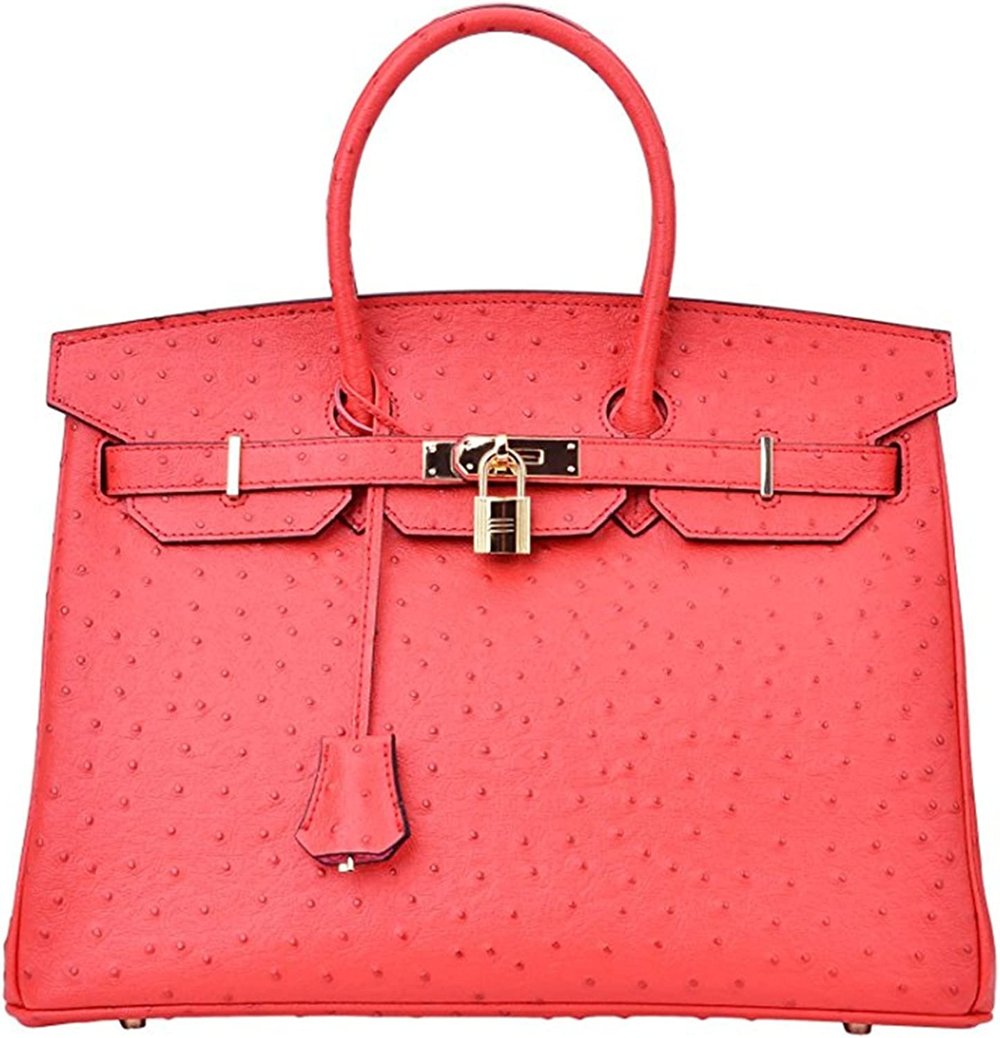 Luxury Women's Genuine Leather Embossed Ostrich Top Handle Padlock Handbags Red 30cm