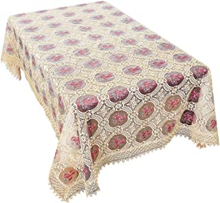 Simhomsen Vintage Beige Embroidered Floral Lace Linen Tablecloths Rectangle 60 × 102 Inch