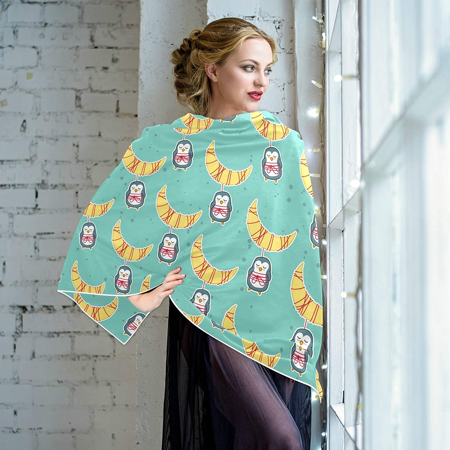 Scarf for Women and Men Penguins Moon Shawl Wraps Blanket Scarf Warm soft Winter Oversized Scarves Lightweight