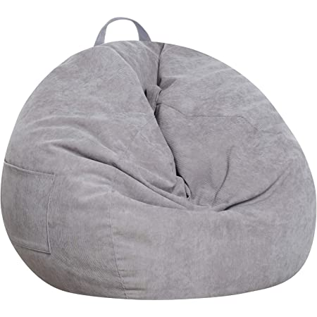 SANMADROLA Stuffed Animal Storage Bean Bag Chair Cover (No Beans) for Kids and Adults.Soft Premium Corduroy Stuffable Beanbag for Organizing Children Plush Toys or Memory Foam Extra Large 300L (Grey)