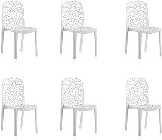 Shaf Pack de 6 sillas de Exterior/Interior Flora, Blanco