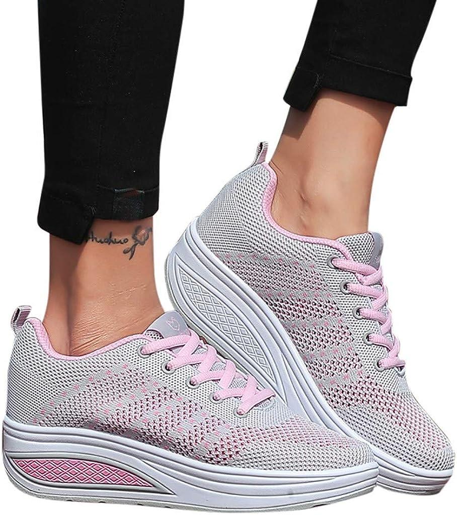YKARITIANNA 2019 Women's Fashion Mesh Heightening Lace-up Sneakers Walking Shoes Fitness Sports Soft Bottom Rocking Shoes