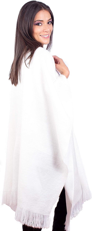 INTI ALPACA Strick Umhang für Damen aus Alpaka Wolle - Gestrickter Mäntel Poncho - Damen Alpaka Poncho -Umschlagtücher - Anden Ruana - Einheitsgröße Weiß