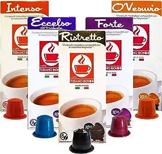Caffe Bonini Nespresso Compatible Gourmet Espresso Capsules, for Original Line Nespresso Machine, 50Count (Dark Roast Variety Pack)