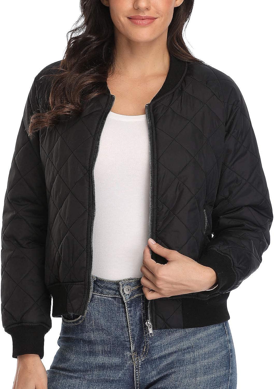 andy natalie Women's Quilted Jacket up Selling Raglan Genuine Zip Sleeve Long