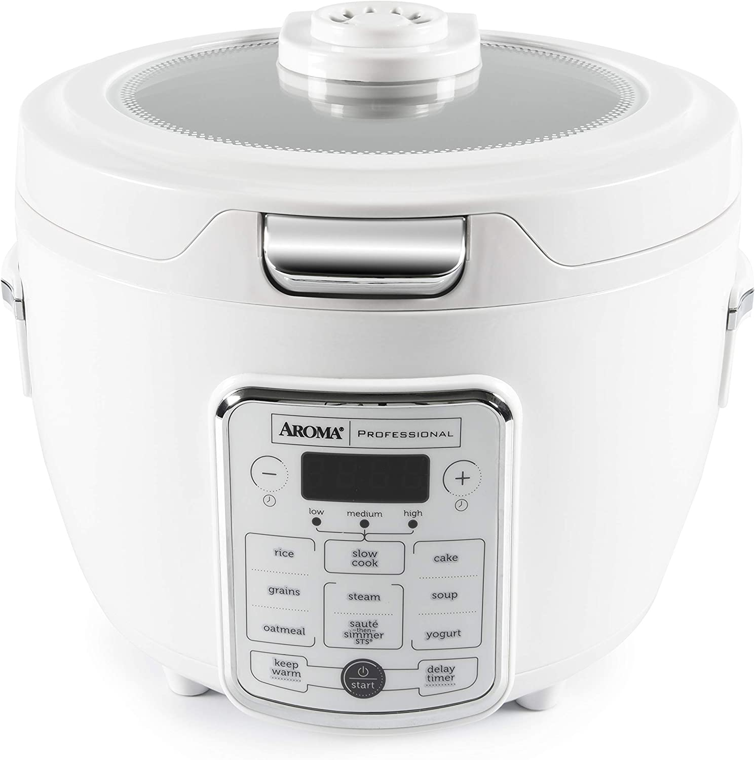 Aroma Housewares Professional 20-Cup(cooked) / 4Qt. Digital Rice Cooker/Multicooker, Automatic Keep Warm and Sauté-then-Simmer Function, white (ARC-1230W)