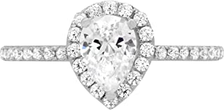 1.22ct Brilliant Pear Cut Solitaire with accent Highest Quality Lab Created White Sapphire Ideal VVS1 & Simulated Diamond Engagement Promise Anniversary Bridal Wedding Ring Real 14k White Gold