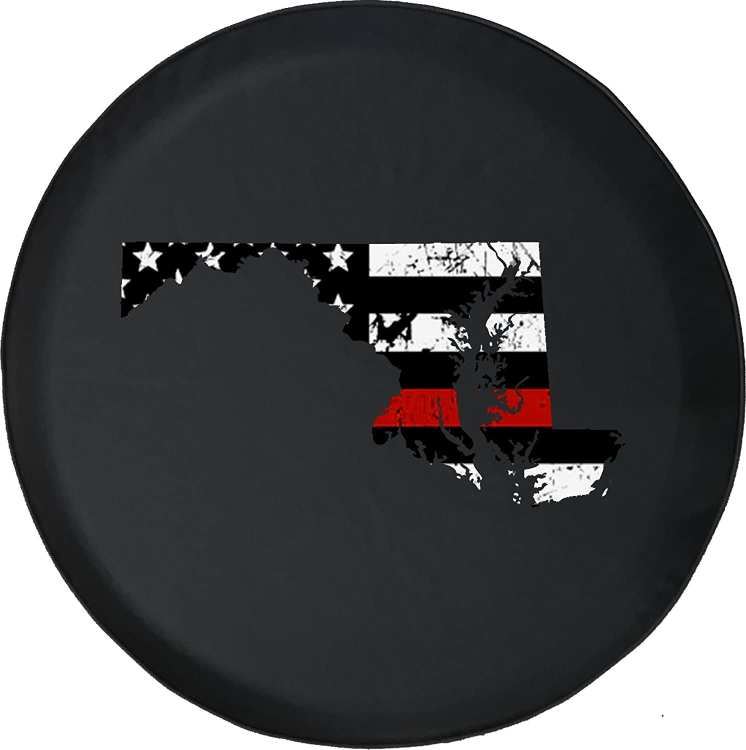 Max 54% OFF Caps Supply Spare Tire Cover Maryland Red Dealing full price reduction -Thin Distressed Line