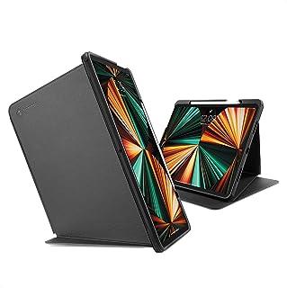 tomtoc iPad Pro 12.9インチ 専用 保護ケース 2021 第5世代 縦ケース 3モード 落下試験済み 耐衝撃 縦置き 多段階スタンド PUレザー 保護カバー 映画鑑賞 アップルPencil 2代 ワイヤレス充電 ブラック