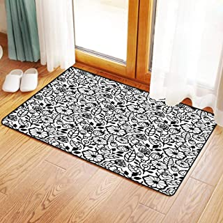 Non-Slip Mat Microfiber Bathroom Rug Shower Mat, Floral,Simplistic Stylized Flower Bouquet Blooming Petals Bota, Ultra Soft and Water Absorbent Bath Rug,Machine Wash/Dry 20x 31 inches