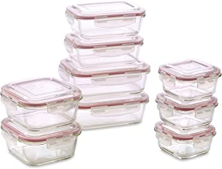 Vibz Glass Food Storage Containers - 18 Piece Set (9 containers and 9 locking lids) - Perfect Food Storage Containers with Lids BPA Free