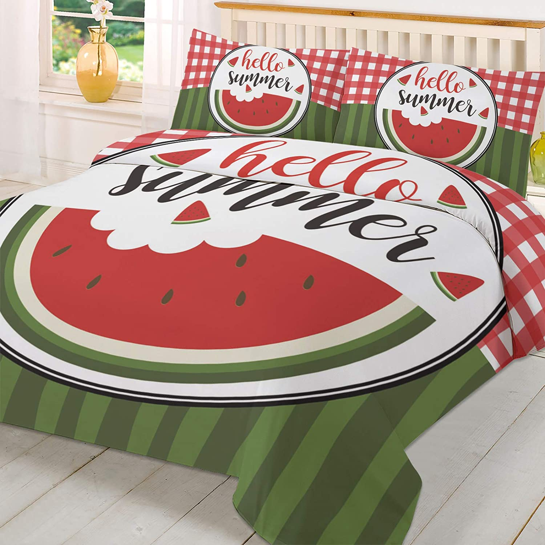 Olivefox Finally popular brand Queen Alternative dealer Duvet Cover Set Summer Stripes Watermelon Welcome