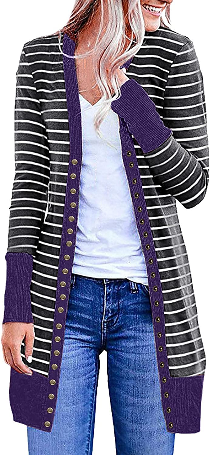 Kanzd Cardigans for Women Casual Women's V-Neck Button Down Stripe Long Sleeve Soft Knit Long Cardigan Sweater Blouse