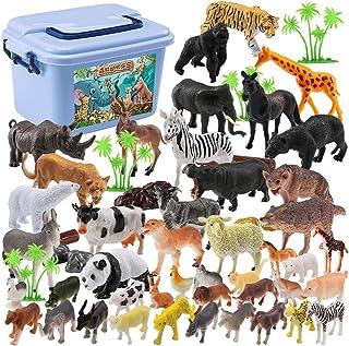 Mumoo Bear Mini Toy Animal Figures Set - 44pcs Plastic Wild Zoo Animals in the Jungle Small Safari Kids Toy Figures