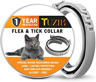 TUZIK Flea and Tick Treatment for Cats - Flea and Tick Prevention for Cats - 12 Months Flea Protection for Cats - Waterproof,  Adjustable,  Hypoallergenic with Natural Essential Oils