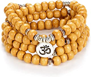 Self-Discovery Yoga Symbol 8mm Mala Beads Bracelet 108 Spiritual Necklace Meditation Accessories Jewelry for Women Men Gifts