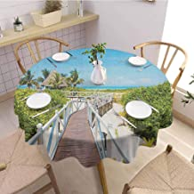 Luoiaax Beach Oil Resistant and Durable Round Table Cover Wooden Walkway Bridge Leading to The Beach Cuban Exotic Destination Purity Pleasure Kitchen Available D40 Inch Round Multicolor