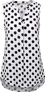 Timeson Women's Casual Chiffon V Neck Cuffed Sleeve Blouse Tops