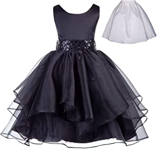 Wedding Ruffles Organza Flower Girl Dress Sequin Toddler Pageant Free Petticoat 012s