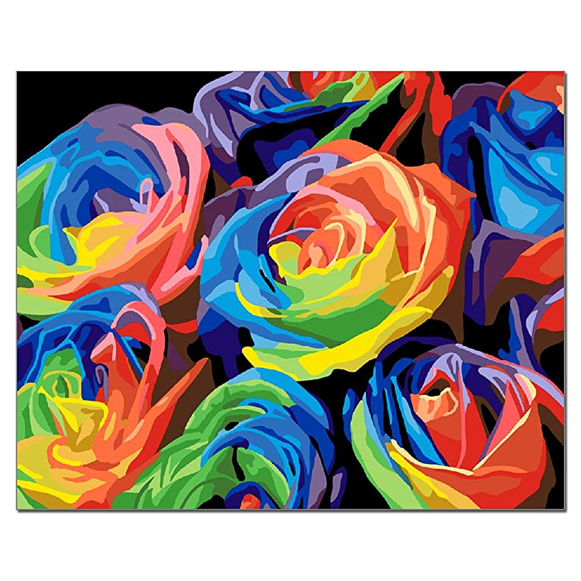 DIY Oil Painting by Number Kit for Adult/Children DIY Wall Decor Ingenious Decorations Gifts Idea 16 x 20 Inches Flowers