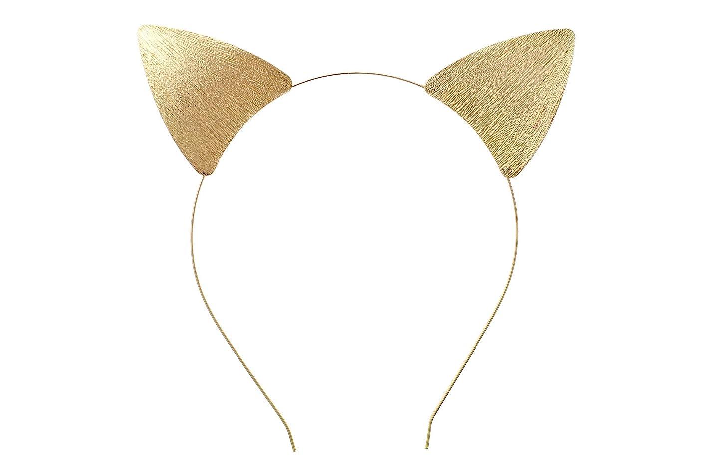 地上の海軍ファウルローズマリー?コレクションWomen 's Gold Toned猫耳Texturedメタルヘッドバンド
