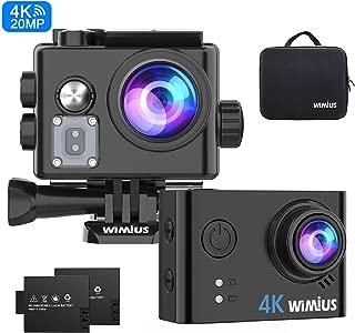 WIMIUS アクションカメラ 4K高画質 2000万画素 手振れ補正 スポーツカメラ wifi搭載 アクションカム 2インチ液晶画面 170度広角防水カメラ ソニーIMX078センサー搭載 防犯カメラ 40M防水ドライブレコーダーとして使用可能 多数バイクや自転車や車に取り付け可能 豊富な付属品付き ブラック