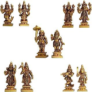 Aakrati Dashavataram -Ten Incarnations/Avatars of Lord Vishnu -Lord Vishnu All Avtar Statues is Made Brass with Details Worked by India Artisan.