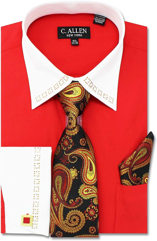 C. Allen Men's Regular Fit French Cuffs Metal Fabrication Dress Shirts with Tie Hanky Cufflinks Combo