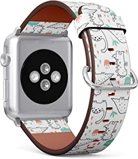 Compatible with Apple Watch 38mm & 40mm Leather Watch Wrist Band Strap Bracelet with Stainless Steel Clasp and Adapters (Cute Dinosaurs Tropic Plants Funny)