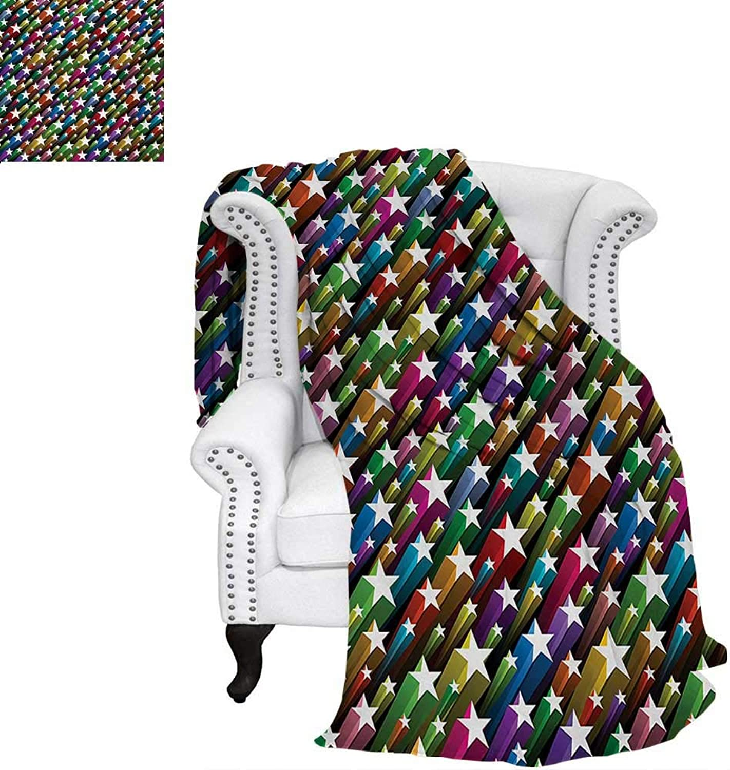 Warmfamily colorful Summer Quilt Comforter colorful Stars Pattern Celebration Theme Disco and Nightclubs Artistic Jolly Fun Digital Printing Blanket 60 x50  Multicolor