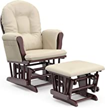 Storkcraft Premium Hoop Glider and Ottoman (Cherry Base, Beige Cushion) – Padded Cushions with Storage Pocket, Smooth Rocking Motion, Easy to Assemble, Solid Hardwood Base